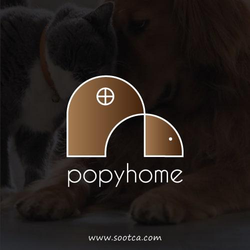 طراحی لوگو لوازم حیوانات خانگی پاپی هوم